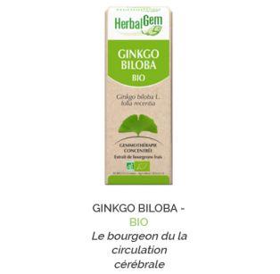 Herbalgem -  GINKGO BILOBA - BIO Le bourgeon du la circulation cérébrale Gemmothérapie concentré - 30 ml