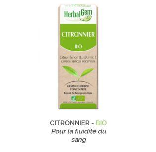 Herbalgem -  CITRONNIER - BIO Pour la fluidité du sang Gemmothérapie concentré - 30 ml